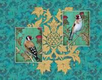 Little Birds With Golden flowers Fine Art Print