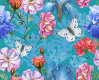 Roses And Butterflies (Pattern) Fine Art Print