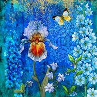 Delphinium And Iris Fine Art Print