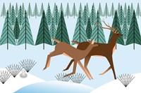 Romping Reindeer Fine Art Print