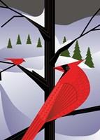 Xmas Cardinals Fine Art Print