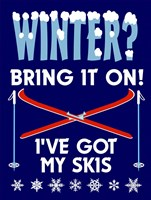 Winter Bring It Skis Fine Art Print