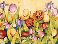 Iris & Tulips/ Yellow Background Fine Art Print