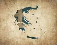 Map with Flag Overlay Greece Fine Art Print