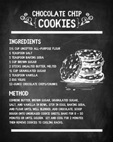 Chocolate Chip Cookies Recipe Chalkboard Background Fine Art Print