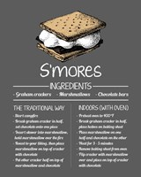S'mores Recipe Gray Background Fine Art Print