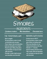 S'mores Recipe Blue Background Fine Art Print
