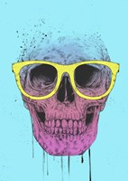 Pop Art Skull With Glasses Fine Art Print