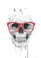 Skull With Red Glasses Fine Art Print