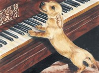 Dachsund Playing Piano Fine Art Print