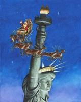 Santa Visits Lady Liberty Fine Art Print