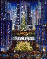 Rockefeller Center 2 Blue Fine Art Print