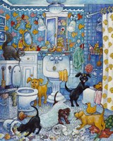 More Bathroom Pups Fine Art Print