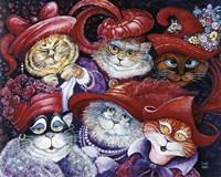 Red Hat Cats Fine Art Print