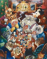 Poker Cats Framed Print