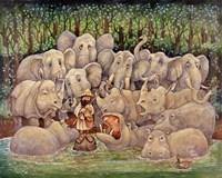 Noah - Elephants-Rhinos-Hippos Fine Art Print