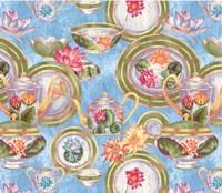 China Cabinet Scroll Blotch Blue Fine Art Print
