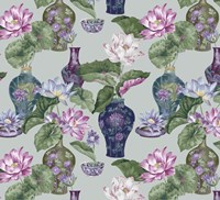 Chinese Vases Silver Fine Art Print