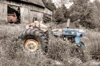 Blue Tractor BW Fine Art Print