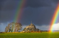 Double Rainbow In Mont Saint Michel Fine Art Print