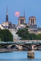 Fullmoon In Notre Dame De Paris Fine Art Print