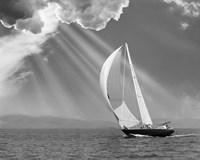 Sailing under sunbeams, L'Anse Bay, Michigan '13 Fine Art Print