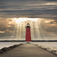 Manistique Lighthouse & Sunbeams, Manistique, Michigan '14 - Color Fine Art Print