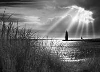 Frankfort Lighthouse and Sunbeams, Frankfort, Michigan '13-IR Fine Art Print