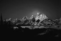 Full Moon Sets In the Teton Mountain Range Fine Art Print
