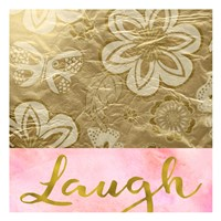 Laugh Golden Flowers Fine Art Print