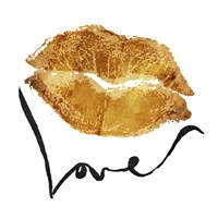 Love Lips Gold Framed Print