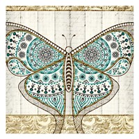 Damask Butterfly Teal 1 Fine Art Print