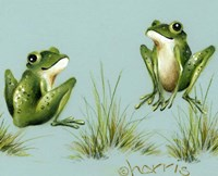 April Showers - Frogs With Grass Fine Art Print