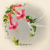 Hummingbirds With Trumpet Flowers 1 Fine Art Print