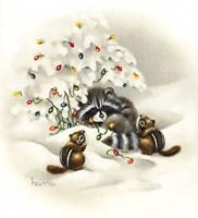 Raccoon/ Chipmunks/ Christmas Lights Fine Art Print