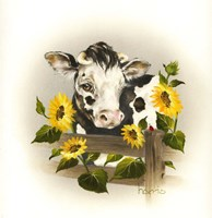 Cow & Sunflowers Fine Art Print