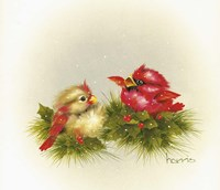 Cardinals And Holly Fine Art Print