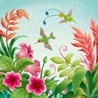 Flowers And Hummingbirds Fine Art Print