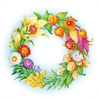 Wreath With Dried Flowers Fine Art Print