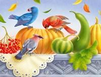 Birds And Pumpkins Fine Art Print
