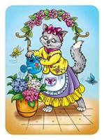 Cat with Flowers Fine Art Print