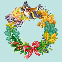 Wreath with Bird Fine Art Print