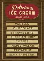 Ice Cream Board -Wood Fine Art Print