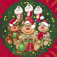Bears Santa's Helpers Fine Art Print