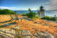 Adirondack Chairs And Lighthouse Fine Art Print