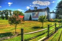 White Barn And Flag Fine Art Print
