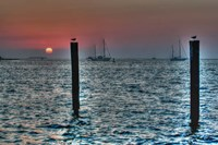 Key West Sunset Two Pilings Fine Art Print
