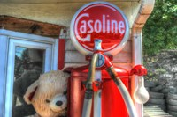 Old Gas Pump and Teddy Fine Art Print