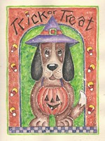 Trick or Treat Dog holding Pumpkin Fine Art Print