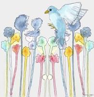 Wildflowers With Bird Fine Art Print